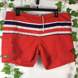 Vintage Surf and Sand red unlined swim shorts